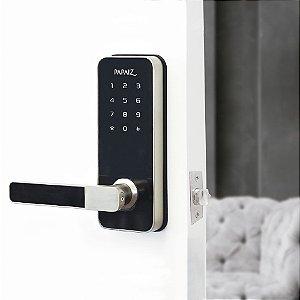 Fechadura Digital Smart Lock Embutida Com Senha e Cartão Prata ESQUERDA SL100 Papaiz