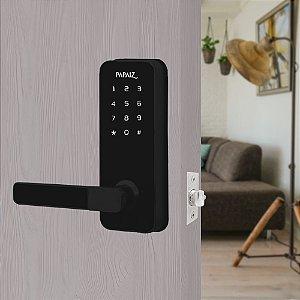 Fechadura Digital Smart Lock Embutida Com Senha e Cartão Preta ESQUERDA SL100 Papaiz