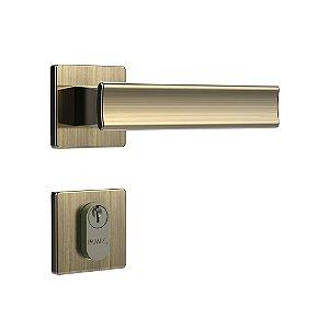 Fechadura para Porta de Entrada Oxidada 40mm com Roseta MZ640 Design Papaiz