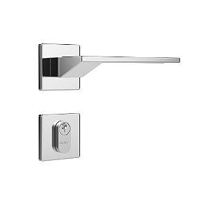 Fechadura para Porta de Entrada Cromada 40mm com Roseta MZ630 Design Papaiz