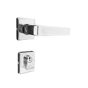 Fechadura para Porta de Entrada Cromada 40mm com Roseta MZ560 Fit Papaiz