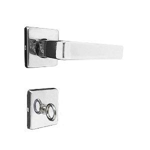 Fechadura para Porta de Banheiro Cromada 40mm com Roseta MZ560 Fit Papaiz