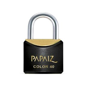 Cadeado com Chave 40mm Latão Preto Color Line Papaiz
