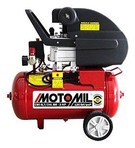 Compressor De Ar 2hp 24 Litros Bivolt Motomil Cmi-8,7 Cm2