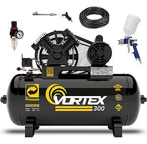 Compressor De Ar 10 Pcm/100 L Pressure Vortex 300 + Kit Pistola de Pintura Cp2