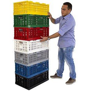 Caixa Plástica Dobrável Desmontável Cap. 40kg / 2 Peças Cd1