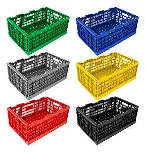 Caixa Plástica Dobrável Desmontável Cap. 40kg / 6 Peças Cd6