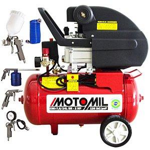 Compressor de Ar Motomil 7,6 pés 24 lts 220v 2hp com Kit de Acessórios Ck8