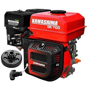 Motor a Gasolina Kawashima Ge700 7hp com Embreagem Coroa Em7
