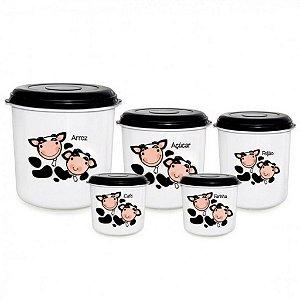 Jogo de Potes em Plastico para Mantimentos 5 Pecas Decoracao Vaquinha Preto e Branco