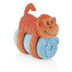 Cobertor Travesseiro e Bicho de Pelúcia Sleepy Pets Macaco Laranja - Multikids Baby