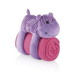 Cobertor Travesseiro e Bicho de Pelúcia Sleepy Pets Hipopótamo Roxo - Multikids Baby