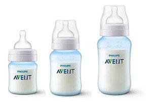 Kit Mamadeira Avent Clássica Anti-Cólica 125ml + 260ml + 330ml Azul - Philips Avent