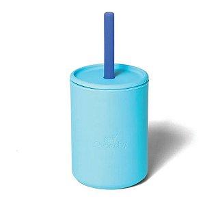 Copo com Canudo e Tampa 100% Silicone Azul - Avanchy