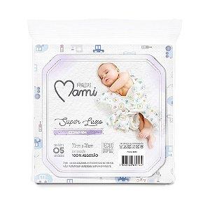 Fralda Super Luxo Mami com Bainha Estampada 70cm x 70cm 05 Unidades Azul - Papi Baby