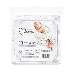 Fralda Super Luxo Mami com Bainha Estampada 70cm x 70cm 05 Unidades Neutra - Papi Baby