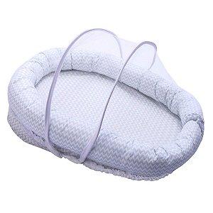 Ninho para Bebê com Mosquiteiro Confort Chevron Azul - Papi Baby