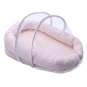 Ninho para Bebê com Mosquiteiro Confort Chevron Rosa - Papi Baby