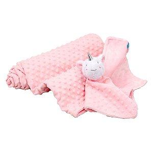 Kit Cobertor com Naninha Unicórnio Rosa - Clingo