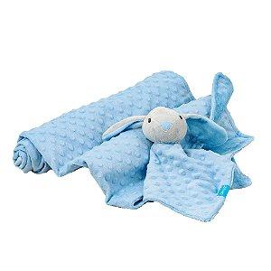 Kit Cobertor com Naninha Coelho Azul - Clingo