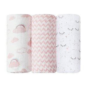 Cueiro Swaddle Soft Premium 1,20M x 1,20M com 03 Unidades Menina - Papi Baby