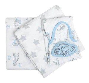Kit Presente Cueiro e Naninha Papi Soft com 03 Peças Fusca - Papi Baby