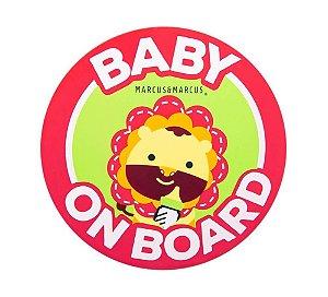 Adesivo de Silicone para Vidro de Carro Baby On Board Leão - Marcus & Marcus
