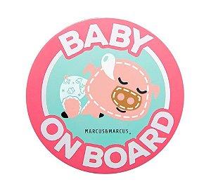 Adesivo de Silicone para Vidro de Carro Baby On Board Porquinho - Marcus & Marcus
