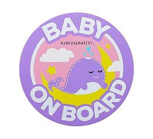 Adesivo de Silicone para Vidro de Carro Baby On Board Baleia - Marcus & Marcus