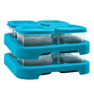 Conjunto c/ 08 Potes para Armazenamento de Papinhas Azul - Green Sprouts