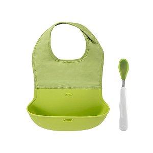 Conjunto de Babador com Bolsa de Silicone + Colher com Ponta de Silicone - Verde - Oxo Tot