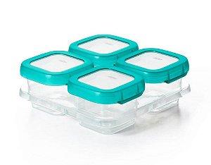 Bandeja com 04 Potes de Armazenar com Tampa (4 x 120ml) Permite Freezer e Microondas - Oxo Tot