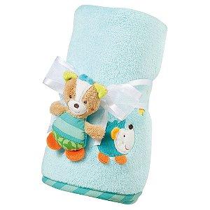 Manta para Bebê com Ursinho Azul - Multikids Baby