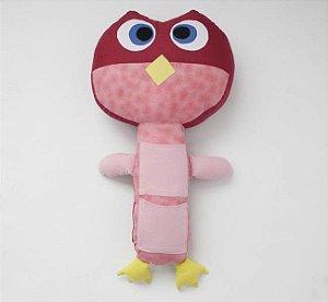 Almofada para Cinto de Segurança Coruja Rosa - Colo de Mãe