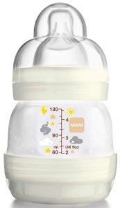 Mamadeira MAM First Bottle Anti-Cólica e Auto-Esterilizável 130ml Bege Neutral