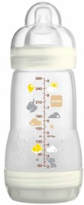 Mamadeira First Bottle Anti-Cólica e Auto-Esterilizável 260ml Bege Neutral - MAM