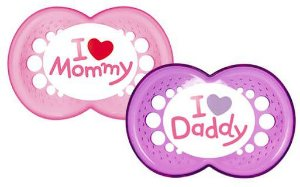"Chupeta Ortodôntica Silk Touch ""I Love Mammy"" e ""I Love Daddy"" (02 unidades) 6+ Meses Menina - MAM"