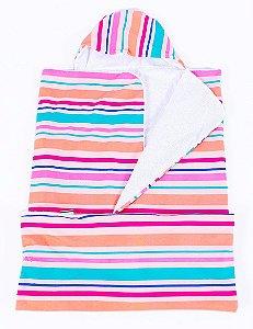 Toalha Infantil (Tamanho Grande) Listras Coloridas - Colo de Mãe