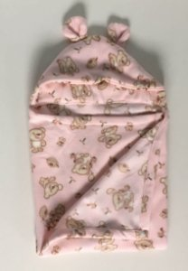 Cobertor Infantil com Capuz Urso Rosa - Colo de Mãe