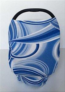 Capa Multifuncional para Mamãe e Bebê (5 funções) Azul e Branco - Colo de Mãe