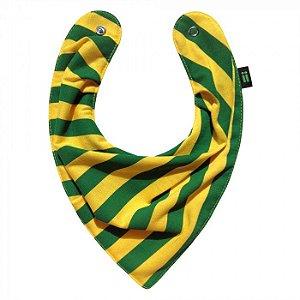 Babador Bandana Listrado Verde e Amarelo - Gumii