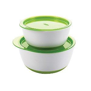Conjunto de Tigelas Bowls com Tampa Verde - Oxo Tot