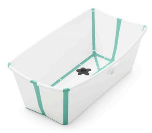 Banheira Dobrável Flexi Bath com Plug de Temperatura Branca com Verde - Stokke