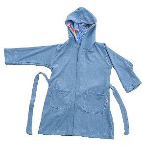 Roupão Infantil com Capuz Paraquedas Azul - Colo de Mãe