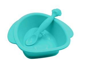 Tigela de Silicone com Ventosa e Colher Cachorro (Permite Freezer e Microondas) - Girotondo Baby