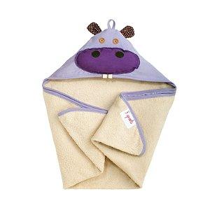 Toalha Infantil de Banho com Capuz Hipopótamo - 3 Sprouts