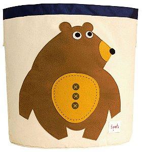 Cesto Organizador de Brinquedos Redondo Urso - 3 Sprouts