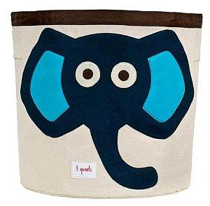 Cesto Organizador de Brinquedos Redondo Elefante Azul - 3 Sprouts