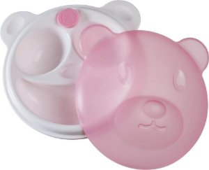 Prato Térmico com Ventosa e Tampa Urso Rosa - Girotondo Baby