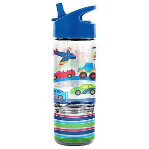 Garrafinha Infantil Flip com Porta Lanche Transportes - Stephen Joseph